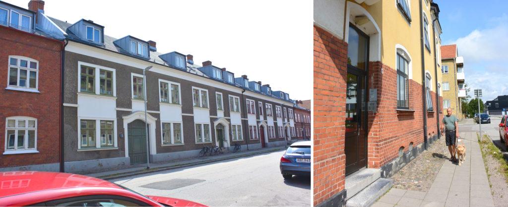 Mariegatan 11, tuttu Wallanderin sarjoista – ja Mariegatan 10, jossa Wallander asui. Janne Silas kävelee talon ohi opaskoiransa kanssa.