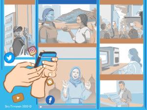 Kuvakoosteessa on erilaisia tilanteita, joissa medialukutaitoa tarvitaan, mm. keskustelussa, älypuhelimella selailtaessa, televisiota katsottaessa ja julkisissa tilanteissa.