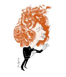 Elina Rajalan karikatyyri on hienostelevan siro, Rouvalilla on punaiset pitkät hiukset ja kädet hennosti edessä.