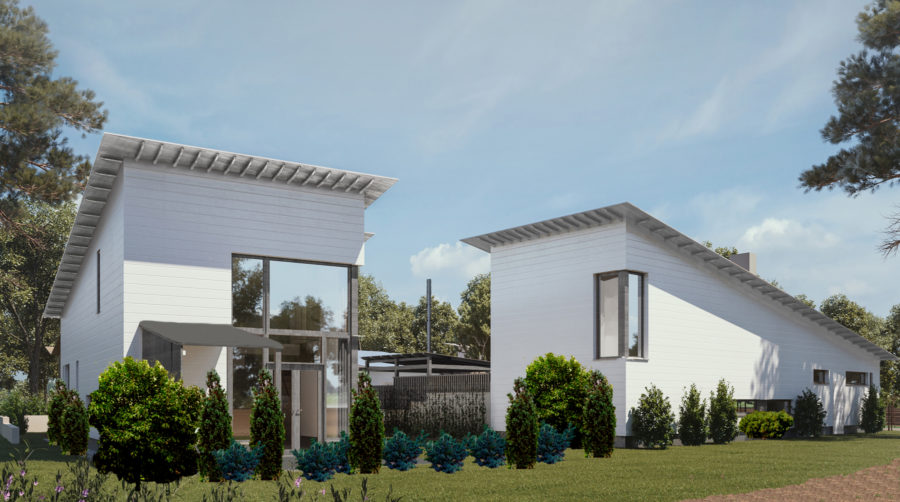 Kaksi valkoista taloa: Villa Mikael ja Villa Sanni.