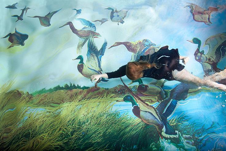 Susanna Majurin uneomaisessa kuvassa lentää nainen hanhien kanssa.